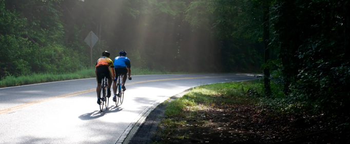 Cyclists on country side road