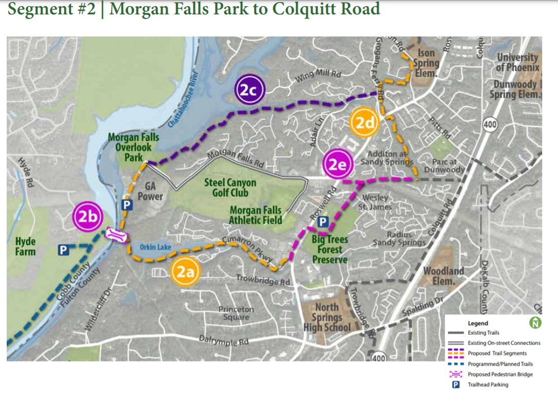Sandy Springs Trails Plan. Section 2a is scheduled for construction in 2022 and would connect to bridge
